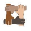 vector of holding hands as symbol of partnership