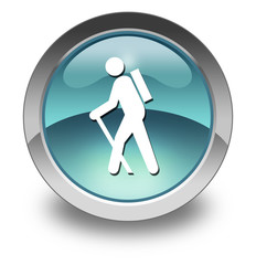 "Light Blue Glossy Pictogram ""Hiking"""