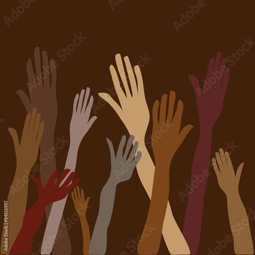 vector of raised Hands as symbol of volunteer