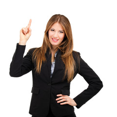 Businesswoman pointing her finger up