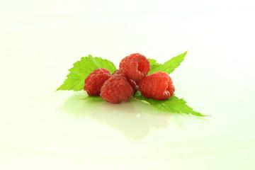 raspberry on leaves