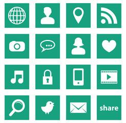 set icônes carré réseaux sociaux uni