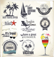 Summer vacation and travel labels