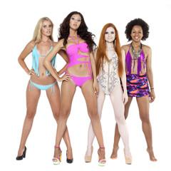 Four young women in bikini