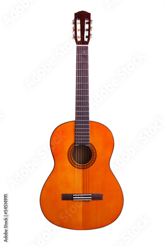 Wooden acoustic guitar on a white background
