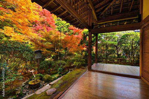 Poster Japan Fall Foliage at Ryoan-ji Temple in Kyoto, Japan