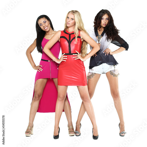 Three beautiful young women on a white background