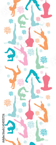 Vector fun workout fitness girls vertical seamless pattern