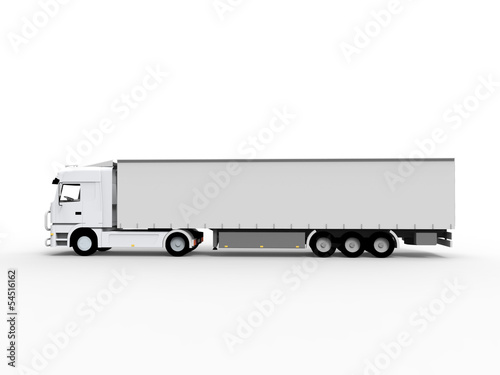 truck with trailer white