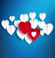 vector background with white paper hearts