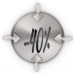 Illustration of a -30 discount sign on metallic label