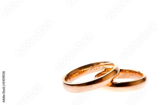gold wedding rings with space for text