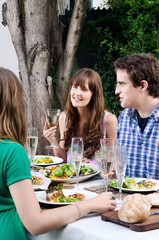 Friends at a outdoor party in the garden with food and drink