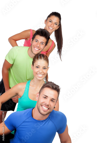 Happy friends with colored sportswear