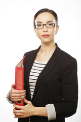 smiling business woman with red folder