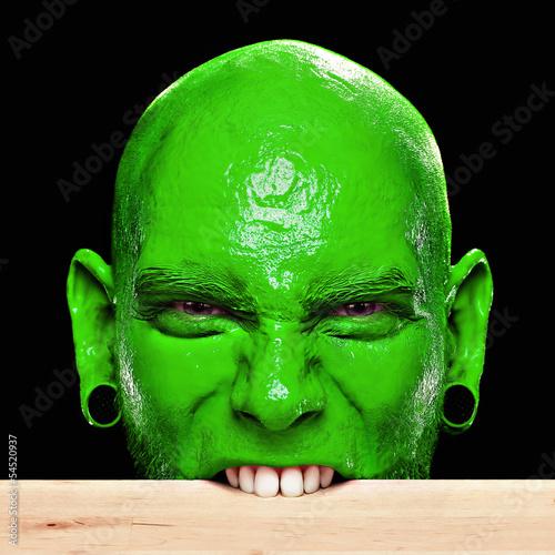 Gesicht Mann Mann Mit Grünem Gesicht Beißt