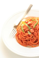 Italian food, sausage and tomato sauce Spaghetti