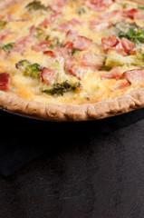Quiche with ham, cheese and broccoli