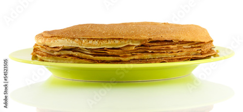 Sweet pancakes on plate isolated on white