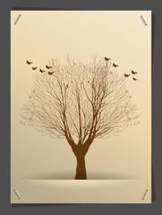 Vector tree silhouette banner idea concept