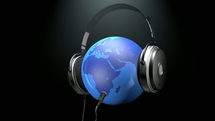 headphones and planet earth
