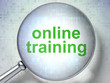 Education concept: Online Training with optical glass
