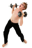 Humorous weightlifting workout images with adorable teen boy. Cl