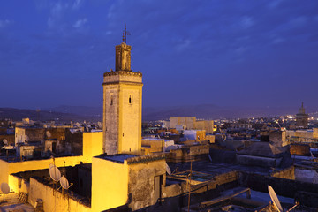 Medina in Fes at ngiht. Morocco, North Africa