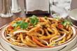 Japanese pan noodles closeup