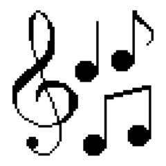 Illustration pixel music notes