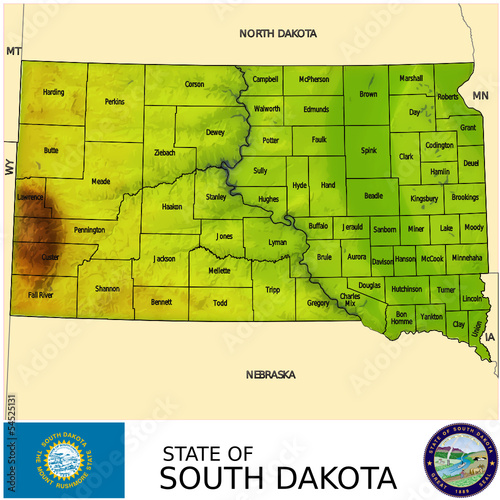 South Dakota USA counties name location map background