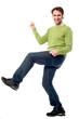 Handsome casual guy dancing