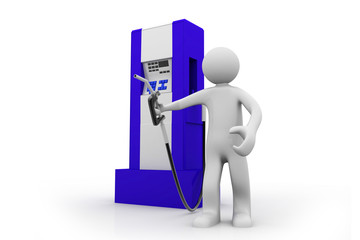 3d man holding a fuel pump, on isolated  background