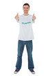 Attractive man wearing volunteer tshirt giving thumbs up