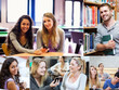 Montage of various pictures showing students in a library