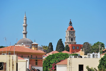 Rhodes Landmarks Suleiman Mosque and Clock Tower