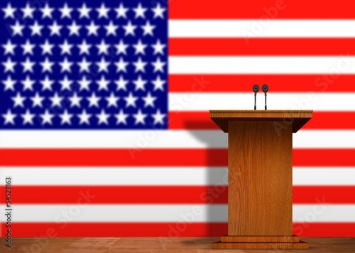 Podium and American Flag