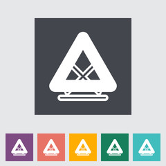 Warning triangle single flat icon.