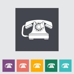 Vintage phone flat icon.