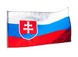 Slovakia flag in wind on a white background