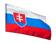 Slovakia flag in the wind on white background