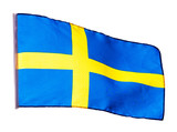 Swedish flag in wind on white background