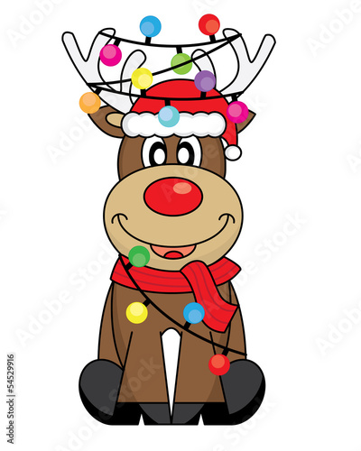 reindeer with santa claus hat and christmas lights