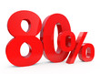 80 percent in red letters, 3d