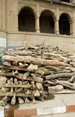 firewood in sacred city Varanasi for people cremation ritual