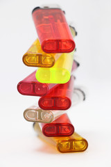 color lighters isolated on a white