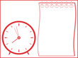 white background with clock and notepad silhouette