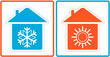 air conditioning symbol with warm and cold in home silhouette