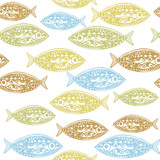 Vector seamless pattern of fish. Abstract texture, elements for