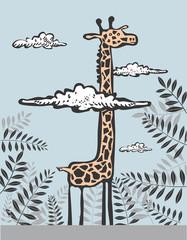 Funny giraffe in clouds